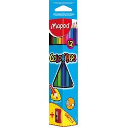 12 Crayons de Couleur Color Peps Maped + 1 taille-crayon Vivo gratuit