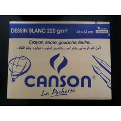 Pochette de 10 Canson Blanc 220g