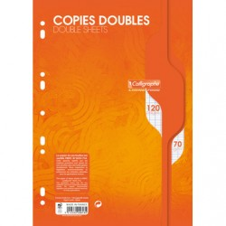 Copies doubles Calligraphe - A4 - Blanches - 120p - Séyès - 70g - Perforées