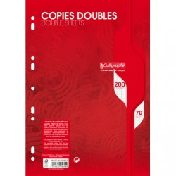 Copies doubles Calligraphe - A4 - Blanches - 200p - Séyès - 70g - Perforées