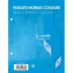 Feuilles simples Calligraphe - 17x22 - Bleues - 100p - Séyès - 80g - Perforées