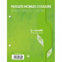 Feuilles simples Calligraphe - 17x22 - Vertes - 100p - Séyès - 80g - Perforées