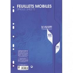 Feuilles simples Calligraphe - A4 - Blanches - 100p - Petits carreaux - 80g - Perforées