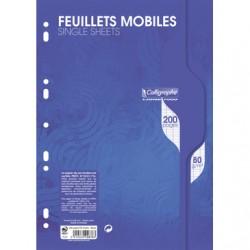 Feuilles simples Calligraphe - A4 - Blanches - 200p - Séyès - 80g - Perforées